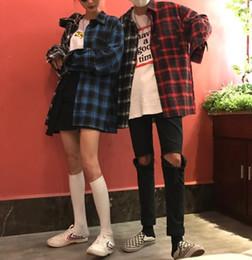 Shirt Styles For Girls Australia - Modstreets Women Plaid Shirts Autumn Spring Long Sleeve Blouses For Girls Korean Top Streetwear Boyfriend Style Shirt Q190508