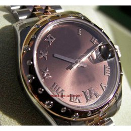 $enCountryForm.capitalKeyWord Australia - Wristwatches With Original Box Casual Modern lady Women's Watches 178341 Midsize Steel Rose Gold 31MM Chocolate Roman Diamond VI