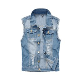 beige denim jacket mens UK - Mens Clothing Spring Men's Denim Vests Ripped Sleeveless Jeans Coat Male Waistcoats Tank Mens Jacket 6XL