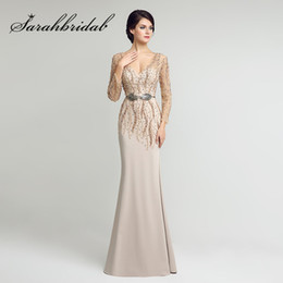 $enCountryForm.capitalKeyWord NZ - Long Sleeves Mother of the Bride Dresses Sexy V Neck Mermaid Beading Sash In Stock Floor Length Satin Evening Gowns LX277