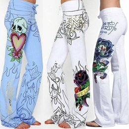 baggy summer trousers UK - Harjauku High Waist Wide Leg Pant Summer Women Baggy Skull Rose Printed Pants Slim Hippie Boho Trousers Streetwear Plus Size