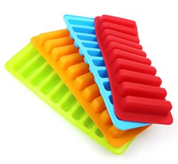 silicone soap mould maker UK - 10 Grid Silicone Stripe Ice Molds Ice Cube Maker Mould Tray DIY Cake Soap Chocolate Cookies Decoration Mould