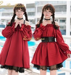 d88d30e0612 Adult Anime Maid Cosplay costume Female Sweet Wine red Gothic Lolita Dress  A sexy off-the-shoulder Dress Party clothes For Girls
