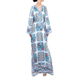 $enCountryForm.capitalKeyWord NZ - wholesale Women Dress High waist V Neck Floral Printed Long Flare Sleeve Split Bohemia Beach Long Swing Dress Chinese Style Dress