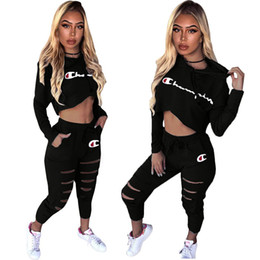 $enCountryForm.capitalKeyWord Australia - Women Champions Tracksuit Fashion Embroidery Letter Printing Hoodies T-shirt+Pants 2 Piece Outfit Sportswear Joggers Set Clothing 2019 C3281