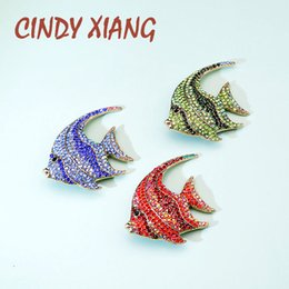 fish brooches NZ - CINDY XIANG Rhinestone Fish Brooches for Women Tropical Fish Pin Coloful Animal Brooch High Quality