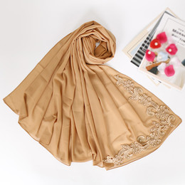 Discount lace hijab scarves - Lace floral hijab scarf plain bubble chiffon wraps beads shawls muslim fashion long headband wraps islamic scarves 10pcs