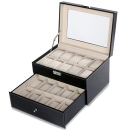 store windows UK - New Fashion Synthetic Leather Glass Window 2 Tiered 20 Watch Holder Display Storage Store Organizer Box Case New Fashion Watch Box