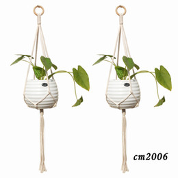 Wholesale Macrame Plant Hanger Handmade Cotton Rope Planter Flowerpot Holder Hanging Basket Indoor Outdoor Wall Hangings Boho Home Decor