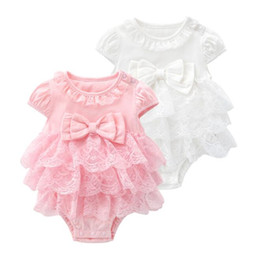 Tutu Boutiques UK - Baby Girl Clothes Solid Bow Infant Rompers Cotton Toddler Girls TuTu Jumpsuit Sleeveless Baby Climbing Clothes Boutique Baby Clothing BY1160