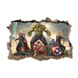 Avengers Wall Stickers NZ - The Avengers 3D Wall Stickers Kids Room Decoration First Generation Iron Man Hulk Captain American Black Widow Hawkeye Thor Home Decoration