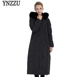 Women Winter coats extra long online shopping - YNZZU Winter Women s Down Jacket Elegant Extra Long Duck Down Coat Woman with Real Fur Collar Warm Outwear Plus Size O733