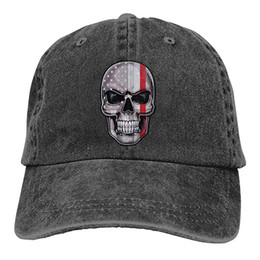 2019 New Designer Baseball Caps Thin Red Line Flag American Skull Mens  Cotton Adjustable Washed Twill Baseball Cap Hat 15866b1e669