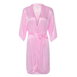 hot lingerie kimono 2019 - KLV #Z5 NEW HOT FASHION 2019 Free Ship Women Sexy Silk Kimono Satin Dressing Gown Bath Robe Lace Lingerie Nightdress che