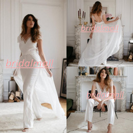 Custom holiday lights online shopping - Lace Chiffon Wedding Jumpsuits With Detachable Train V neck Short Sleeve Summer Holiday Beach Countryside Bridal Dresses Pantsuit Gown