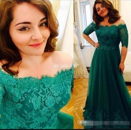 $enCountryForm.capitalKeyWord Australia - Dark Green Formal Mother Of The Bride Dresses with Half Sleeve Off Shoulder Lace Appliques Plus Size Wedding Guest Dress Evening Party Gowns