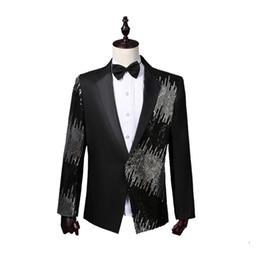 Clothes Single Australia - Men Wear Sequins Suits Stage Singer Tops Red Blue Black Purple Single Breasted Men Suit Casual Blazers Men's Clothing