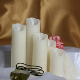 moving flameless candles Australia - Set of 5 Rechargeable led candle pillar paraffin wax wavy edge Moving wick Wedding Xmas Party bar decor 10-12.5-15-18-20CM(H) Y200531