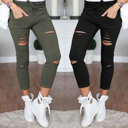 White oxford flats online shopping - 2019 New Women Designer Slim Hole Sporting Leggings Fitness Leisure Sporting Deet Sweat Pants Black Gray Navy Blue Hollow Tight Trousers Hot