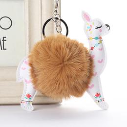 $enCountryForm.capitalKeyWord Australia - Fluffy Fur Ball Cute Alpaca Keychain Leather Animal Keyring Charm Chaveiros Artificial Rabbit Fur Pompom Key Chain Women Jewelry Gift