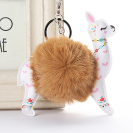 Wholesale Fluffy Fur Ball Cute Alpaca Keychain Leather Animal Keyring Charm Chaveiros Artificial Rabbit Fur Pompom Key Chain Women Jewelry Gift