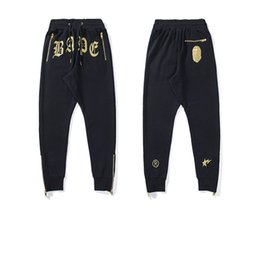 China Bape Fashion Mens Pants Ape Head Zipper Beam Foot Trousers Men Women Youth Designer Casual Pants Size M-2XL cheap terry flats suppliers
