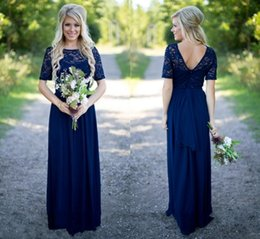 short chiffon olive bridesmaid dresses Canada - Country Bridesmaid Dresses Hot Long For Weddings Navy Blue Chiffon Short Sleeves Illusion Lace Beads Floor Length Maid Honor Gowns SH343