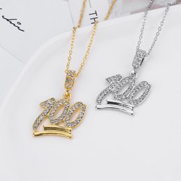 $enCountryForm.capitalKeyWord Australia - Custom Name Bling Rhinestone Number 100 Point Pendant Necklace Figure 100 Pendant Necklaces Men's Zircon Hip Hop Jewelry Gold Silver Chain