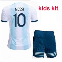 kid argentina messi jersey NZ - Argentina jersey 2019 Youth Soccer Sets Kids MESSI DI MARIA AGUERO DYBALA Higuain Pastore Kids Jersey Boy 19 20 football Uniforms