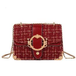 Women Sling Chains Shoulder Bag Messenger Woolen Korean Fashion Crossbody  Chain Metal Square Buckle Hand Pu Bags Handbag Clutch 41a061fbe8515