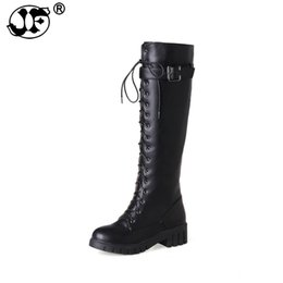 f75b7a6adf4d Women s Lace Up Knee High Boots Thick Bottom High Heel Platform Combat Boots  Black Green Gray Plus Size