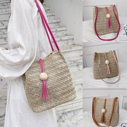 Wholesale Straw Ladies Handbags Australia - Women Bag Vintage Bali Handbag Summer Straw Tassel Wood Ball Wild Shoulder Bag Ladies Beach Casual Bags Bohemian Crossbody#5$