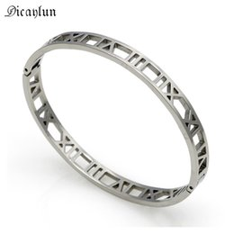 roman numerals numbers 2020 - DICAYLUN Hollow Roman Numeral Bracelet Jewelry Women Stainless Steel Roman Number Bracelet Gold Silver High Quality chea