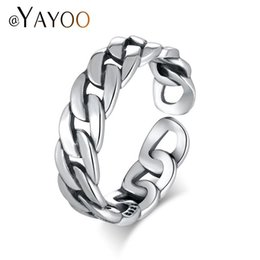 $enCountryForm.capitalKeyWord Australia - whole saleAYAYOO Rings Silver 925 Sterling Jewelry Rings For Women Vintage Chain Link Men Punk Ring Rock Open Midi Finger Ring Jewellery