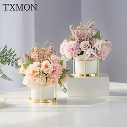 $enCountryForm.capitalKeyWord Australia - Noble small fresh Nordic fake flower suit (flower + vase) artificial flower home living room decoration table flower decoration