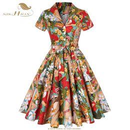 Vintage Style Line Dress Pattern Australia - Sishion 50s 60s Retro Vintage Dress Short Sleeve Car And Beauty Pattern Floral Print Elegant Women Plus Size Autumn Dress Sd0002 T319053103