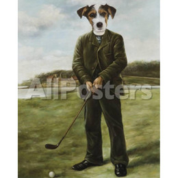 Painting Dog Portraits Australia - Custom hand painted pet portraits Thierry Poncelet oil paintings Persistent Golfer art dogs wall decor