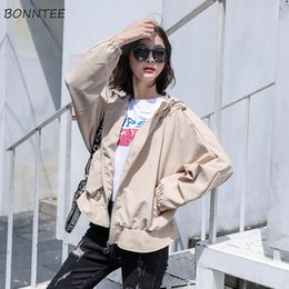 Discount trendy black clothing - Jackets Women Korean Style Ulzzang Retro Trendy Loose Leisure Womens Clothing Hooded Solid Color Students Simple Spring