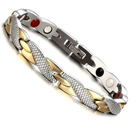 red agate dragon UK - Adjustable Magnetic Therapy Silver Bracelet Stainless Steel Dragon Energy Gold Bangles Men Women Health Care Jewelry Accessories