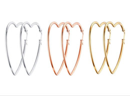 wholesale bulk crosses UK - 5pair of in bulk silver  gold  rose gold Stainless Steel Simple design Large sweet Lover Heart Hoop Earrings Women Pairty jewelry