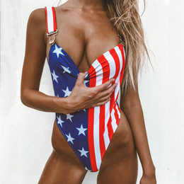 women bikini american flag swimwear NZ - Women's Swimming Suit Sexy Bikini 2019 Swimsuit Women American Flag The fourth of July Two Pieces Bikini Swimwear Beachwear
