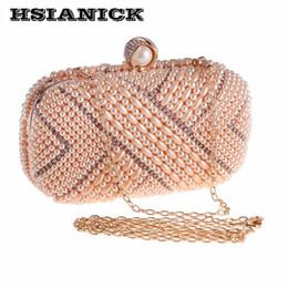 Evening Hand Bags Australia - Pop Fashion White Evening Bag Chain European And American Dress Clutch Handbag Womens Hand Pearl Small Square Bag Party Handbag