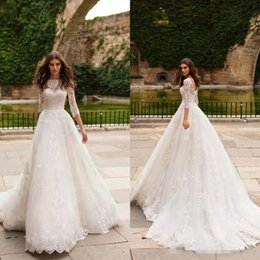 Purple Wedding Dresses Pictures Australia - 2019 Sexy A-Line Wedding Dresses Sheer V-Neck Lace Appliques Long Sleeves Open Back Sweep Train Plus Size Custom Cheap Bridal Gowns