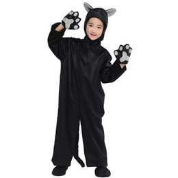 $enCountryForm.capitalKeyWord Australia - Kids Black Cat Costume Little Kitten Cosplay Costume Animal Onesie Fancy Dress Jumpsuit with Headwear Paws Toddlers For Children