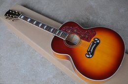 Top acousTic guiTars online shopping - New Arrival Quality AAA Custom Shop Cherry Red Sunburst Spruce Top Maple Sides Back Acoustic Guitar can be installed Fishman