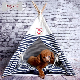 factory beds direct 2019 - Factory direct sales foreign trade hot pet nest supplies removable wash canvas tent navy striped puppy nest cat litter c