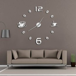 cafe style lights 2019 - Cafe DIY Large Wall Clock Frameless Giant Wall Clock Modern Design Cafe Coffee Mug Coffee Bean Decor Kitchen Watch cheap