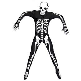Hooded onesies costume online shopping - Adult Men Halloween Scary Skeleton Ghost Onesies Romper Terror Bone Print Male Hooded Jumpsuit Party Fancy Dress Costume M XL