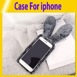Discount iphone plush phones - Cute Rabbit Hairy Phone Case for IPhone 6 6S 7 8 Plus Rhinestone Plush Bunny Cover For IPhone X XR XS Max retail7