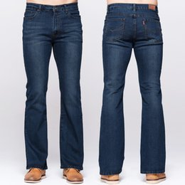Wholesale deep denim jeans resale online – GRG Mens Boot Cut Jeans Classic Stretch Denim Deep Blue Slightly Flared Pants Slim Fit Fashion Trousers